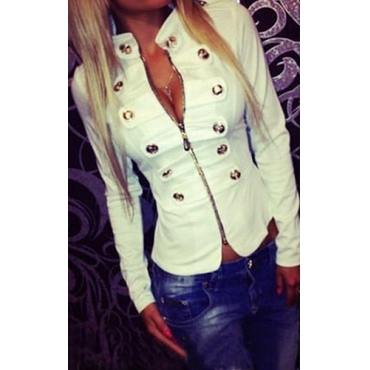 Cheap Casual Turtleneck Long Sleeves Zipper Design Buckles Decorated White Cotton Blend Short Coat&Jacket