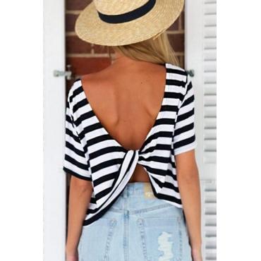 Cheap Backless Striped Back-white Blending O Neck Long Sleeves  T-shirt