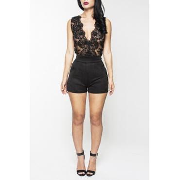 Sexy V-Ausschnitt Behälter-Sleeveless Hohle-heraus Spitze Patchwork Solid Black Polyester einteilige Regular Jumpsuit
