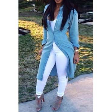 Casual Turndown Collar Long Sleeves Single-breasted Blue Cotton Blend Long Shirt
