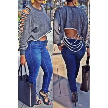 Casual Long Sleeves Hollow-out Grey Blending Short Pullover Sweat