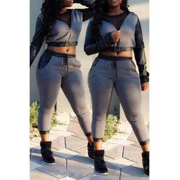 Casual Long Sleeves PU Patchwork Grey Cottob Blend Two-piece Hooded Sweat Set(Please in Kind Prevail)