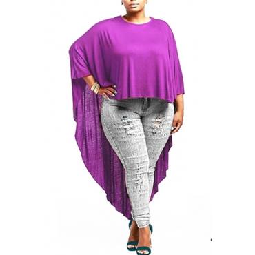 Arbeiten Sie O Ansatz lange Hülsen festes purpurrotes strickendes T-Shirt um