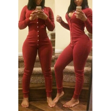 Schlank mit V-Ausschnitt mit langen Ärmeln Einreiher Red Baumwollmischung einteilige dünne Jumpsuit