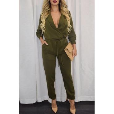 Модные V шеи с длинными рукавами Solid Army Green Полиэстер Цельный Regular Комбинезон