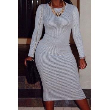 De moda de cuello redondo de manga larga de poliéster gris de la envoltura del mini vestido