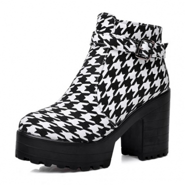 Winter Round Toe Zipper Design Buckle Patchwork Chunky Super High Heel Black PU Ankle Cavalier Boots