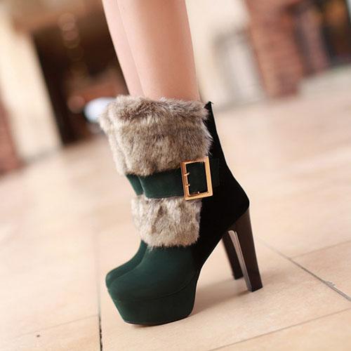 Мода зима Круглый Носок поскользнуться на Пряжка Коренастый Супер Высокий каблук Зеленый PU Короткие Мартин сапоги