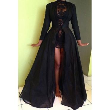 Fashion Long Sleeves Ruffles Design Black Polyester Long Coat