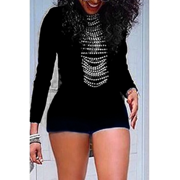 Trendy O Neck Long Sleeves High Waist Black Polyester Skinny Jumpsuit(Without Accessories)