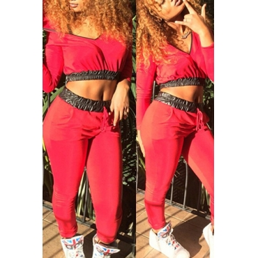Stylish O Neck Long Sleeves Patchwork Red Two-piece Pants Set