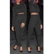Stylish Long Sleeves Black Blending Hoodies