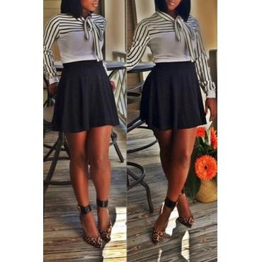 ? Art und Weise O-Ausschnitt mit langen Ärmeln Striped Bow-Tie Dekorieren weiße Baumwollmischung Pullover