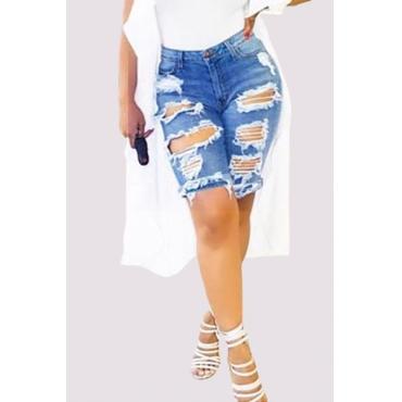 Jeans/2016 New Arrival Stylish Mid Waist Broken Holes Blue Cotton Blends Shorts