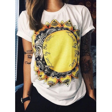 Casual O Neck Short Sleeves Sunflower Print White Cotton Blends T-shirt
