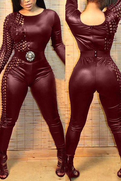 trendy o neck long sleeves patchwork hollow out wine red spandex one piece jumpsuits jumpsuits. Black Bedroom Furniture Sets. Home Design Ideas