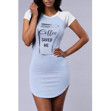Casual O Neck Short Sleeves Letter Print Blue Cotton Blend Sheath Mini Dress