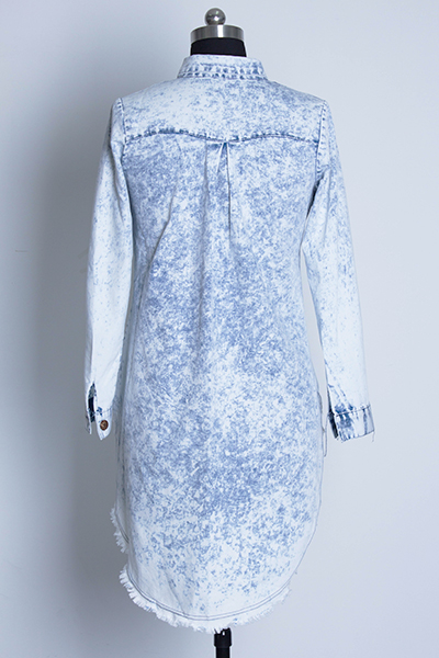 Elegante Turndown Collar mangas compridas Single-breasted assimétrico Vestido Azul Denim A Linha de Mini shirt