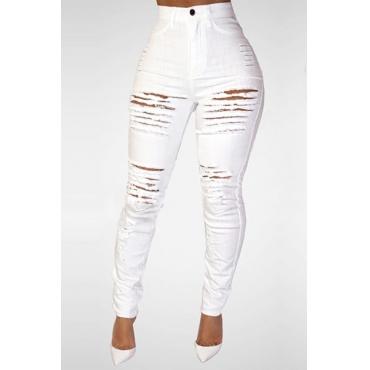 Trendy High Waist Broken Holes White Denim Skinny Jeans