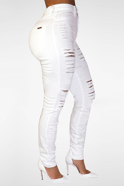 White High Waist Denim Skinny Jeans Trendy Broken Holes