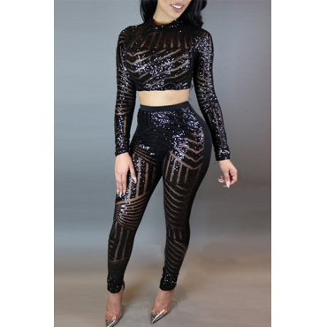 Sexy Round Neck Long Sleeve Sequined Decoration Black Two-piece Pants Set