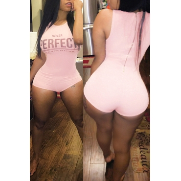 Sexy O Neck Sleeveless Letters Print Pink Polyester One-piece Skinny Jumpsuits
