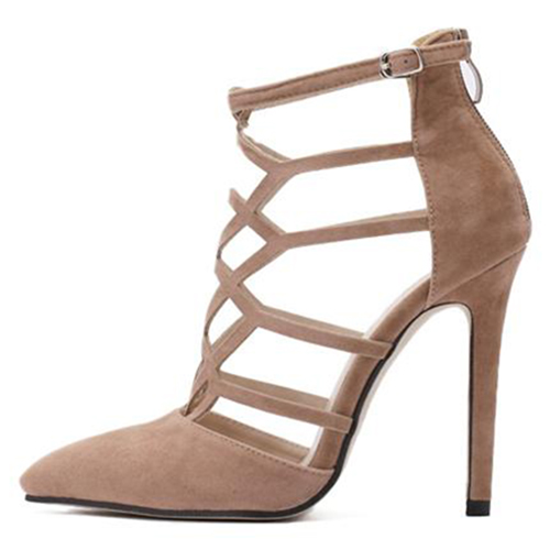 Trendy Pointed Closed Toe Hollow-out Stiletto Super High Heel Apricot PU Basic Pumps