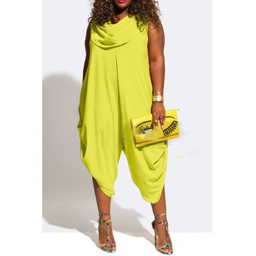 Fashion Heaps Collar Tank Sleeveless Asymmetrical Yellow Chiffon One-piece Loose Jumpsuits
