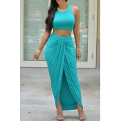 Fashion Skirt Plain O Neck Sleeveless Green  Qmilch Two-piece Outfits