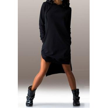 Повседневный длинными рукавами Side Split Асимметричный черный полиэстер с капюшоном платье