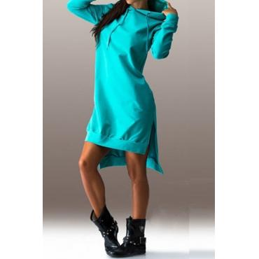 Lässige lange Ärmel Seite Split Asymmetrische grüne Polyester Kapuzen Kleid