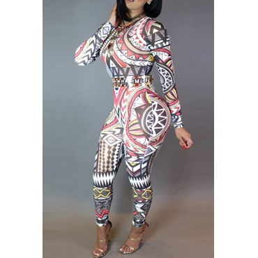 Trendy O Neck Long Sleeves Digital Printing Qmilch One-piece Skinny Jumpsuits