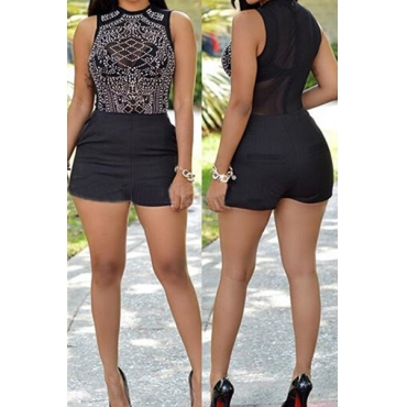 Trendy O Neck Tank Sleeveless Mesh Splicing Black Polyeste One-piece Skinny Jumpsuits