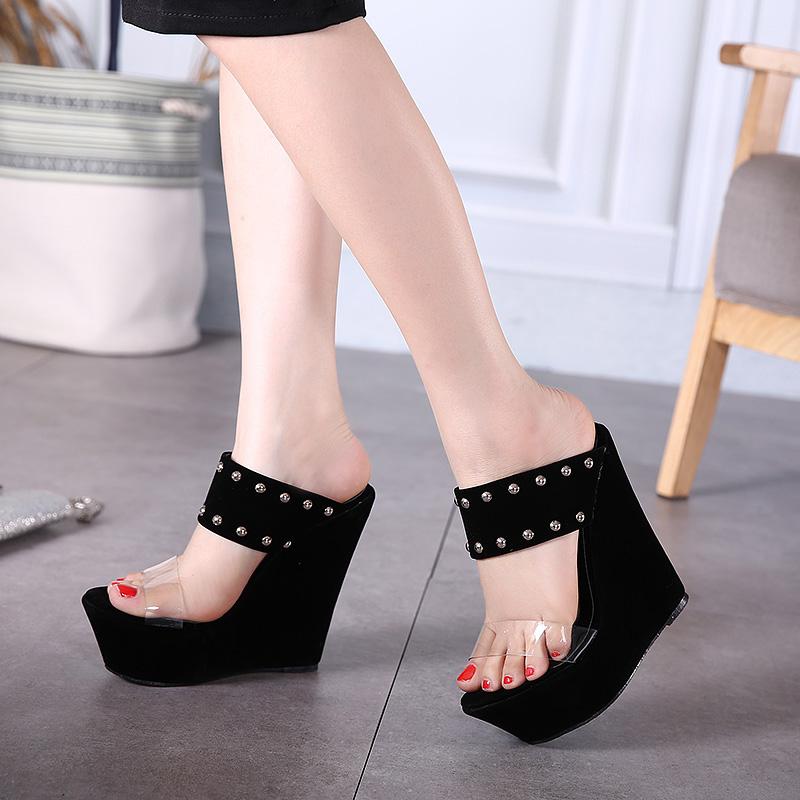 Trendy Open-toe Rivet Decorative Wedge Super High Heel ...