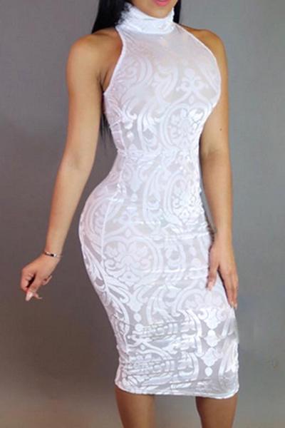 Sexy Rundhalsausschnitt Behälter-Sleeveless Mesh-Patchwork Weiß Baumwollmischung Hülle Knie-Längen-Kleid