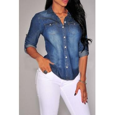 Euramerican Turndown Collar Three Quarter Sleeves Single-breasted Design Dark Blue Cotton Blends Shirts