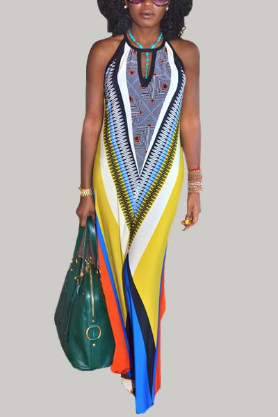 Bohemian O Neck Tank Sleeveless Patchwork Print Spandex Sheath Ankle Length Dress
