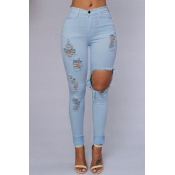 Trendy Mid Waist Broken Holes Mint Blending Jeans