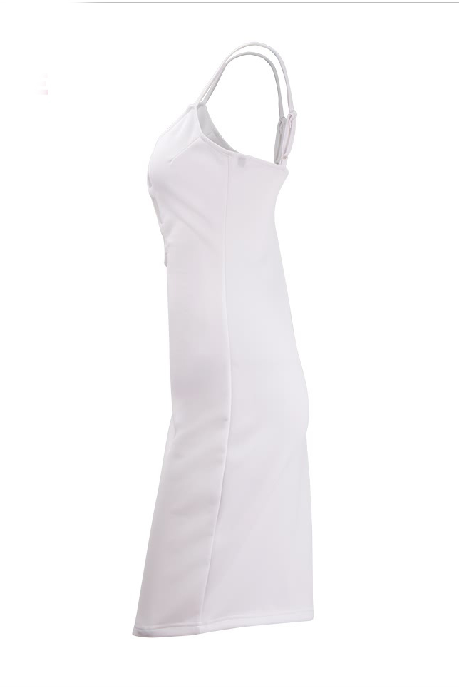 Sexy V cuello espaguetis correa sin mangas de algodón blanco vaina rodilla mujeres vestido de longitud