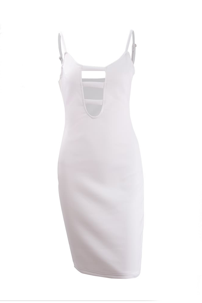 robe sexy v cou spaghetti sangle coton blanc sans manches gaine du genou longueur femmes