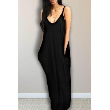 Alluring V Neck Spaghetti Strap Sleeveless Asymmetrical Black Cotton Blend Ankle Length Dress