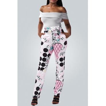 Stylish Bateau Neck Short Sleeve Printed Falbala Design Qmilch Two-piece Pants Set