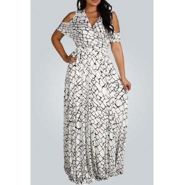 Longitud del vestido de la moda con cuello en V manga corta de bloques impresos de nylon Playa del tobillo