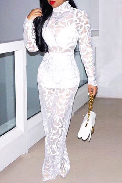 Sexy Round Neck Long Sleeves See-Through White Lace One-piece Jumpsuits (Include Shorts)