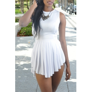 Fashion O Neck Tank Sleeveless Asymmetric Design White Polyester Pleated Mini Dress