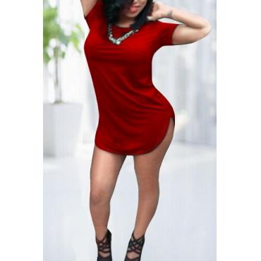 Moda O pescoço curto mangas Red Bainha Mini Vestido
