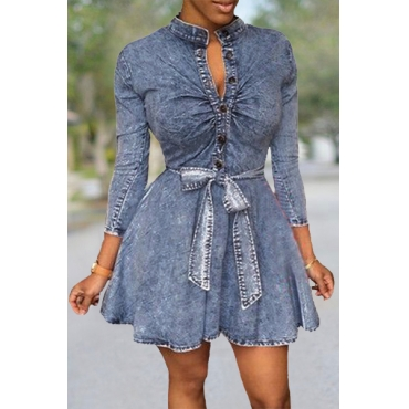 Women Sexy Long Sleeve Bodycon Club Denim Jean Mini Dress