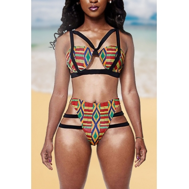 Sexy Patchwork High-Waisted Two-piece Swimsuit
