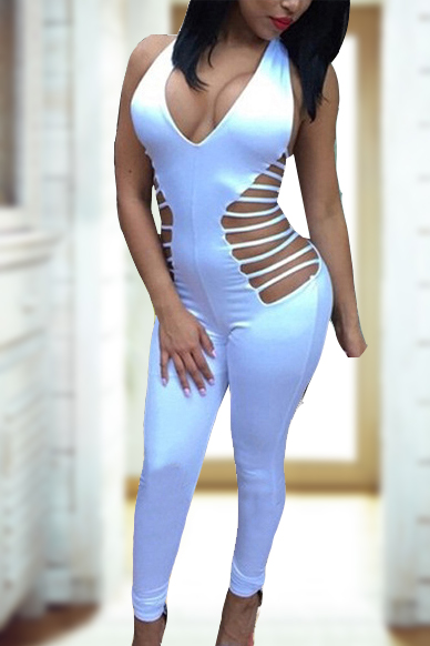 Sexy V Neck Sleeveless Side Hollow-out White Qmilch One-piece Skinny Jumpsuits