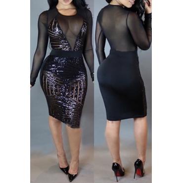Sexy шею длинными рукавами Mesh Лоскутная Черный Sequined оболочки длиной до колен платье